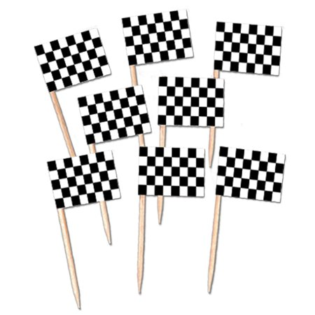 Club Pack of 600 Black and White Checkered Racing Flag Food, Drink or Decoration Party Picks - Black And White Racing Flag