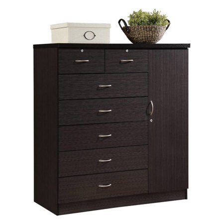 Hodedah Imports 7 Drawer and 1 Door Chest with Locks