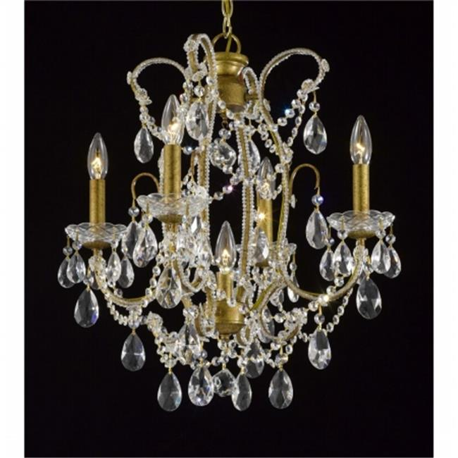 Upscale Chandelier 483339-4-1AG Antique Reproduction Beaded Chandelier With Hand Polished Crystal Trim