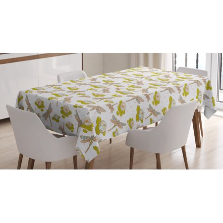 Dragonfly Tablecloth, River Side Flowers Loddon Lilies Leaves with Mosaic Pattern Like Wings Image, Rectangular Table Cover for Dining Room Kitchen, 60 X 90 Inches, Multicolor, by Ambesonne