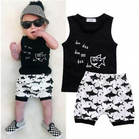 - Shark Newborn Baby Boys Sleeveless T-shirt Tops Shorts Summer Outfits Clothes