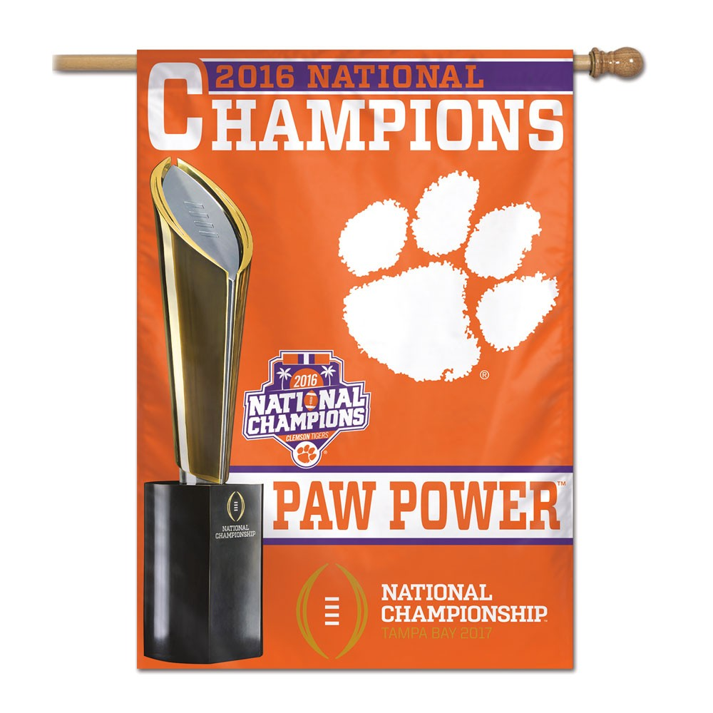 Clemson Tigers Official NCAA National Championship 2017 Flag Banner 28x40 by Wincraft 187406