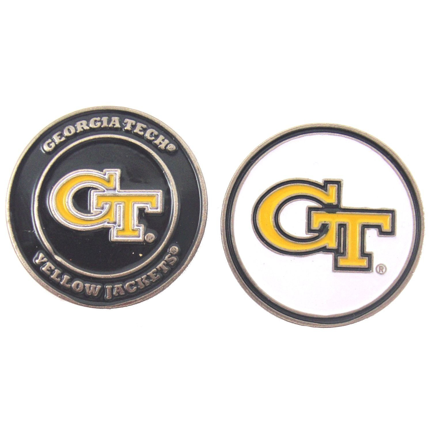 Georgia Tech Yellow Jackets Double-Sided Golf Ball Marker, 1 Team Logo Double Sided Ball Marker By Waggle Pro Shop,USA