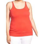 Sejour NEW Red Lava Women's Size 3X Plus Tank Cami Solid Stretch Top