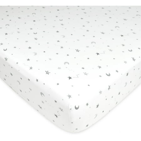 American Baby Company Printed 100% Cotton Jersey Knit Fitted Crib Sheet for Standard Crib and Toddler Mattresses, Grey Stars and Moon, for Boys and Girls