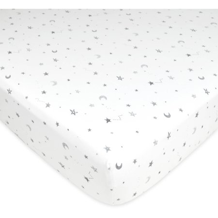 American Baby Company Printed 100% Cotton Jersey Knit Fitted Crib Sheet for Standard Crib and Toddler Mattresses, Grey Stars and Moon, for Boys and - American Baby Company Stripes Sheets