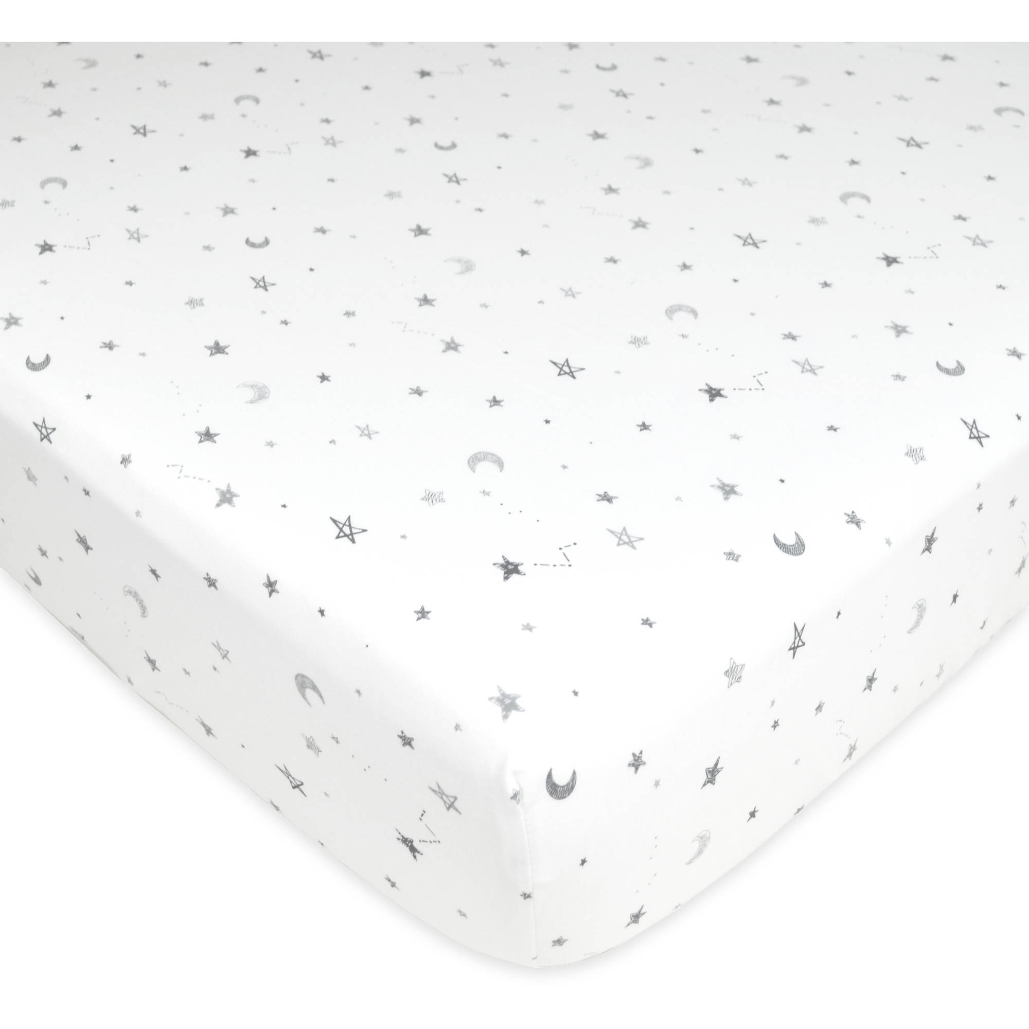 American Baby Company 100% Cotton Value Jersey Knit Fitted Crib Sheet for Standard Crib and Toddler Mattresses, Stars and Moon