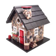 Home Bazaar CC-2024 Windy Ridge Decorative Stone Cottage Bird House, Red & Black