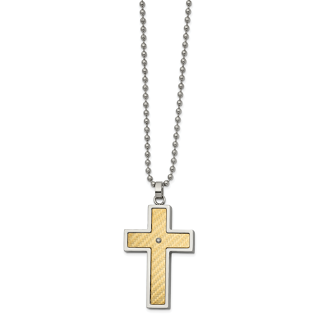 Stainless Steel with 18k gold accent .02ct Diamond Cross Necklace 24in