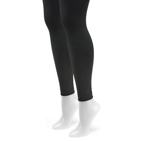 bab2c7a4ff1e39 Women's Fleece Lined 2-Pair Pack Footless Tights - Walmart.com