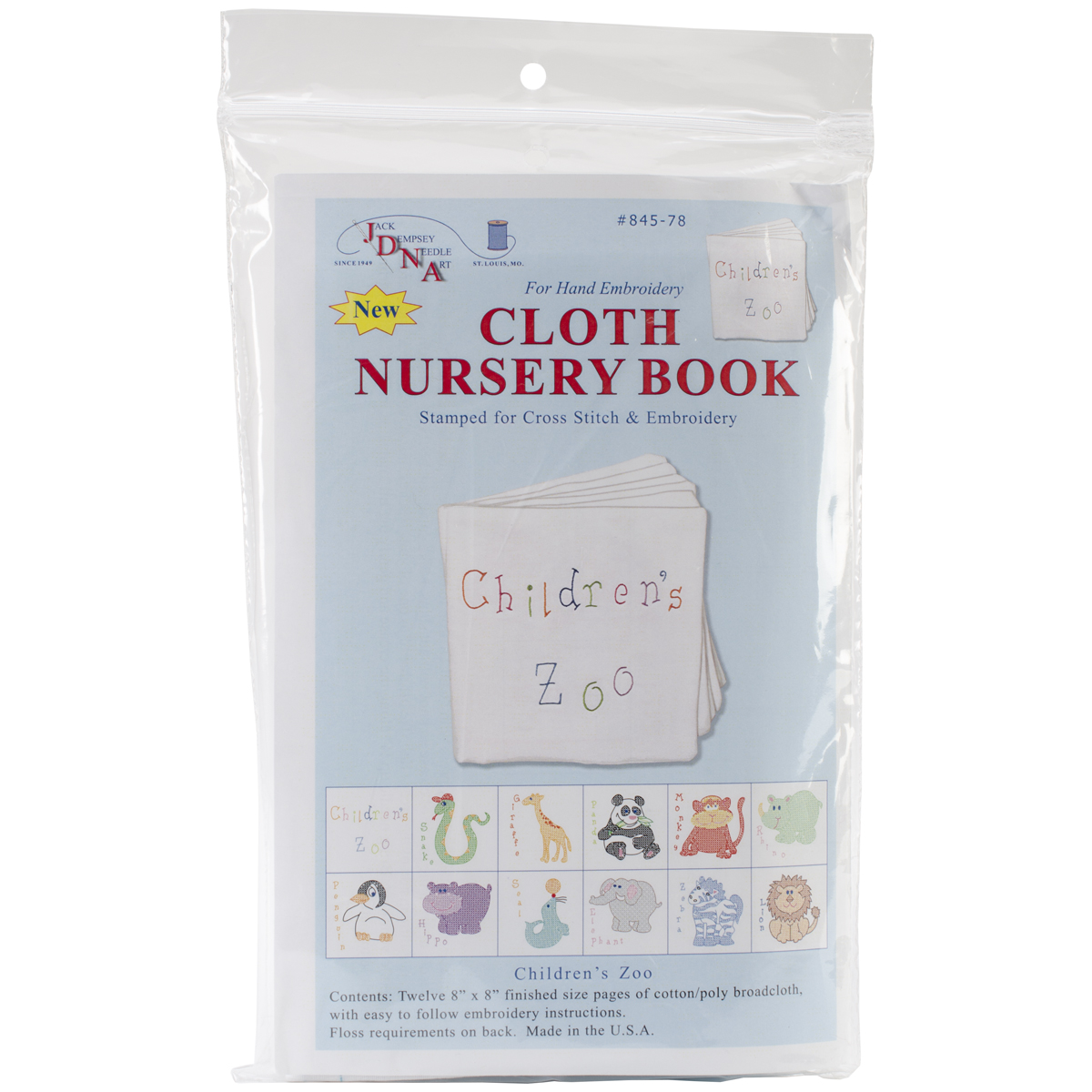 """Stamped Cloth Nursery Books, 8"""" x 8"""", 12 Pages, Children's Zoo"""