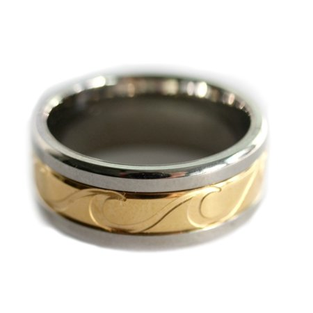 8 mm Titanium Wave Gold and Silver Spin Ring