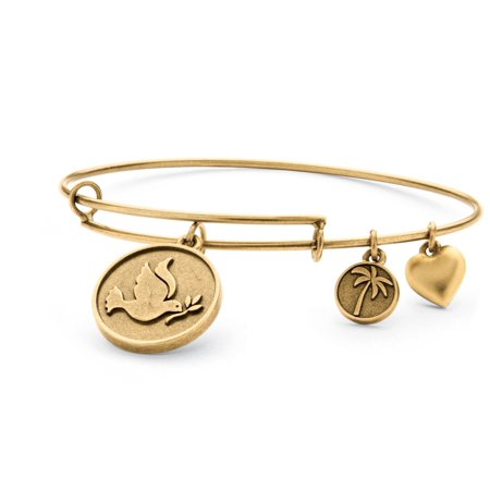 Antique Gold Bangles - Dove of Peace Charm Bangle Bracelet in Antique Gold Tone