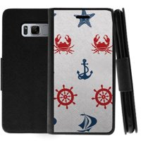 TurtleArmor ®   For Samsung Galaxy S8 Active G892 [Wallet Case] Leather Cover with Flip Kickstand and Card Slots - Marine Pattern