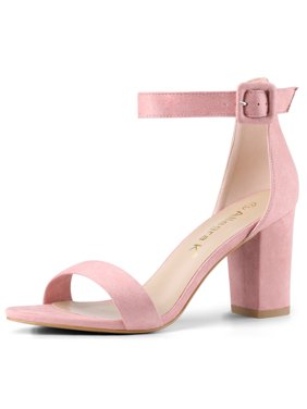 Allegra K Women's Chunky High Heel Ankle Strap Sandals