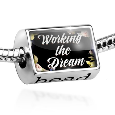Bead Floral Border Working the Dream Charm Fits All European Bracelets