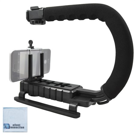 Professional Video Stabilizing Grip + eCostConnection Universal Tripod Smartphone Mount fits Virtually All Phones + Microfiber (Micro Mount)