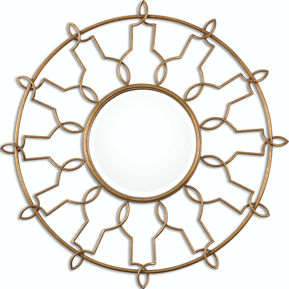 "38"" Anjar Round Beveled Wall Mirror with Hand-Forged Sunburst Gold Leaf Metal Frame"