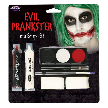 Fun World Evil Joker Prankster Halloween 7pc Makeup Kit, Black Red