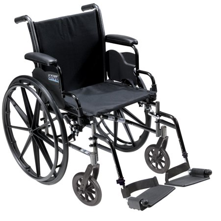 Drive Medical Cruiser III Light Weight Wheelchair with Flip Back Removable Arms, Desk Arms, Swing away Footrests, 16