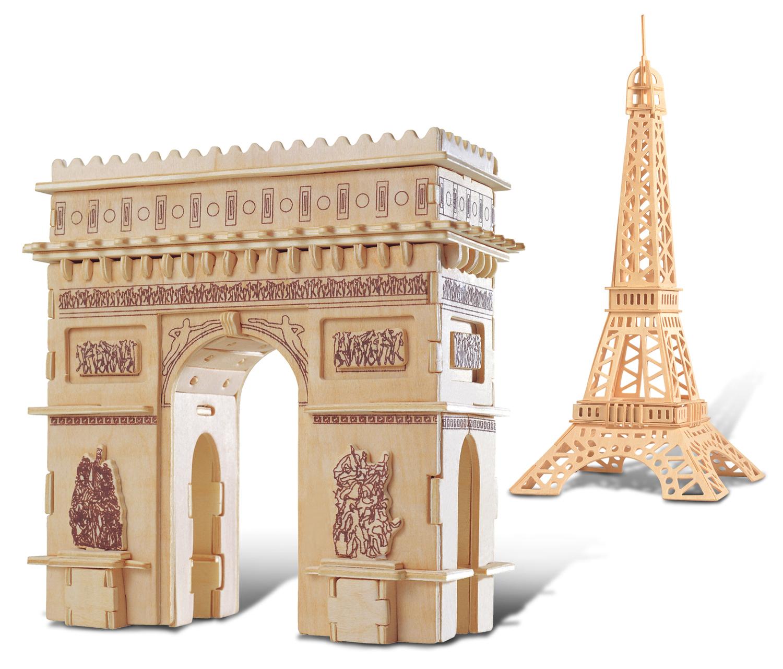 Puzzled Eiffel Tower and Arc De Triumph Wooden 3D Puzzle Construction Kit by Puzzled Inc
