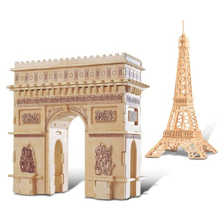 Puzzled Eiffel Tower and Arc De Triumph Wooden 3D Puzzle Construction Kit](Eiffel Tower Puzzle)
