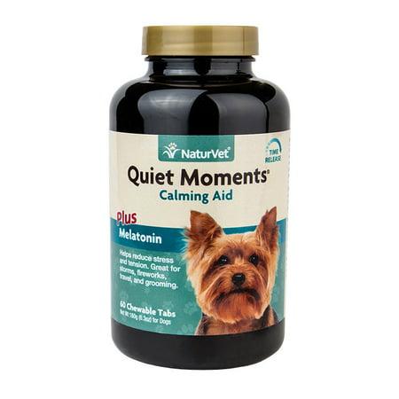 NaturVet Quiet Moments Calming Aid Plus Melatonin, Calming Supplement for Dogs, 60 Chewable Tablets