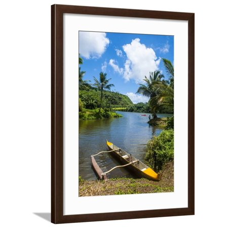 Dugout Canoe on the Wailua River. Kauai, Hawaii, United States of America, Pacific Framed Print Wall Art By Michael (Best Wood For Dugout Canoe)