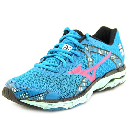 Mizuno Wave Inspire 10 Womens Blue Mesh Athletic Lace Up Running Shoes