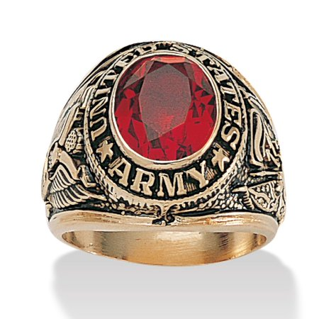 Men's Oval-Cut Simulated Red Ruby 6 TCW 14k Yellow Gold-Plated Antiqued Army (Army Service Rings)