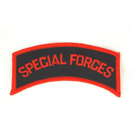 - Special Forces Army Tab Red Embroidered Military Patch Iron or Sew AKPM131