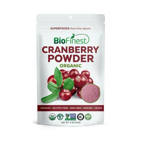 Biofinest Cranberry Juice Powder - 100% Pure Freeze-Dried Antioxidants Superfood - USDA Certified Organic Kosher Vegan Raw Non-GMO - Boost Digestion Weight Loss - For Smoothie Beverage Blend (4