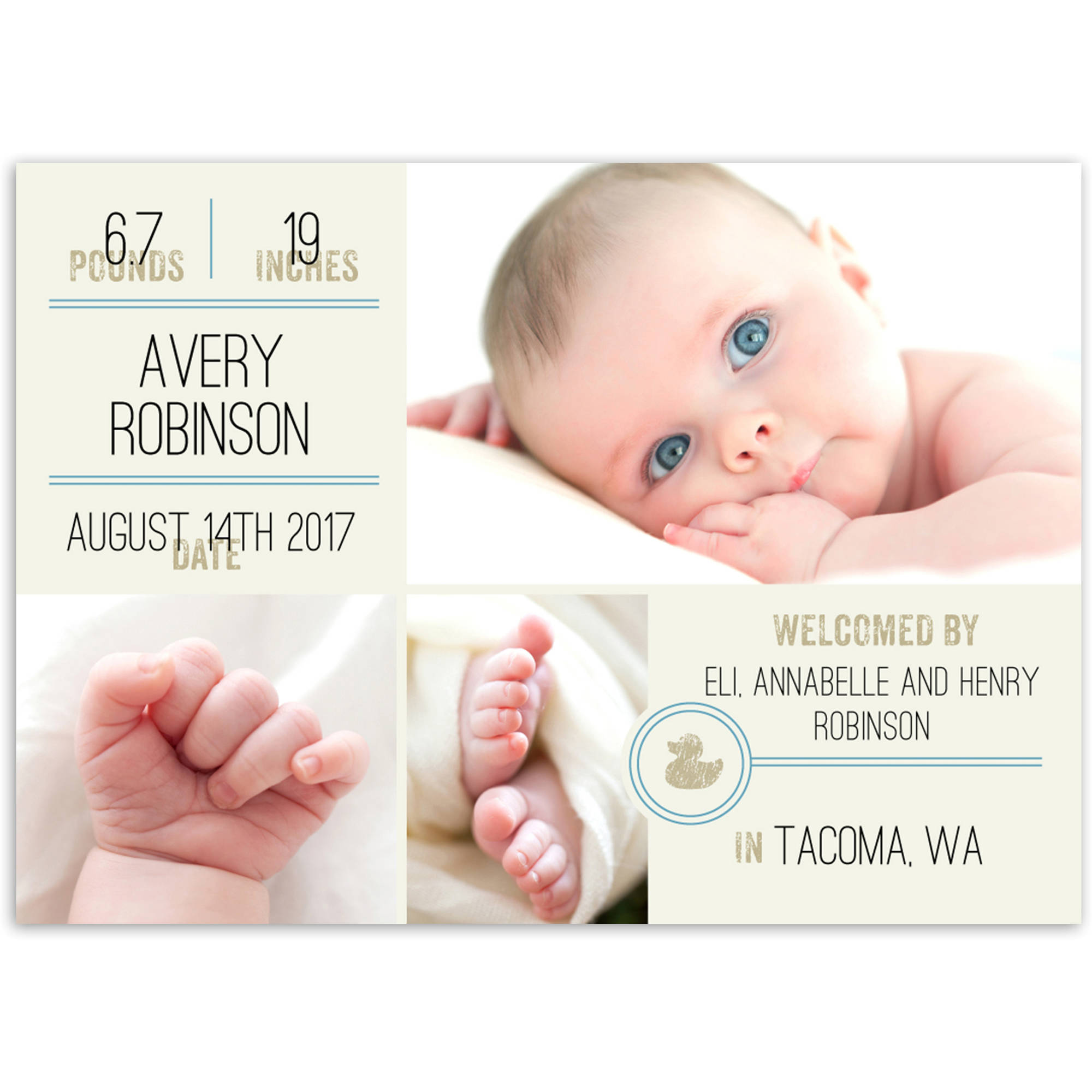 Timeless Label Baby Announcement