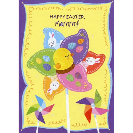 - Designer Greetings Eggs, Duckling and Bunny Pinwheel: Mommy Juvenile Easter Card