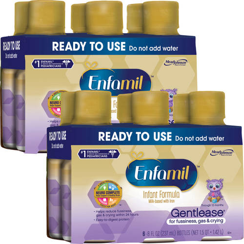 Enfamil Gentlease baby formula - Ready-to-Use 8 fl oz Plastic Bottles - 6ct (Buy 2 and Save)