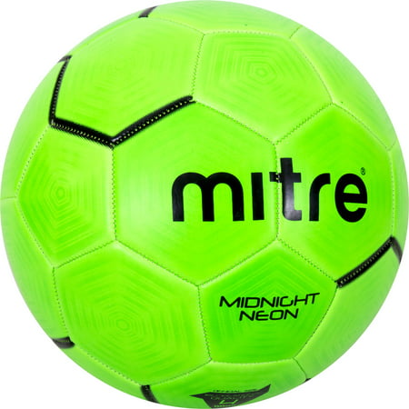 Mitre Midnight Neon Green Soccer Ball, Size 4 - Soccer Ball Glow In The Dark