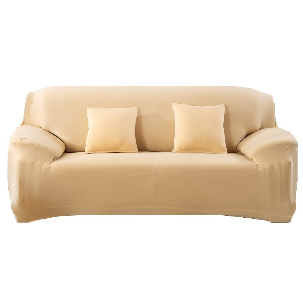 Anauto Stretch Elastic Slipcover 3 Seater Sofa Covers Form Fit Solid Color  Furniture Protector Beige