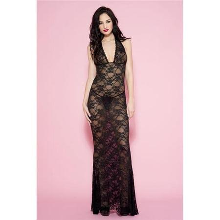 Criss Cross Halter Gown (Music Legs 53012-BLACK Long Lace Halter Gown, Black)