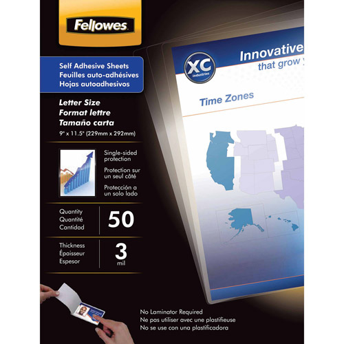 Fellowes Self-Laminating Sheets, 3 mil, 9 x 12, 50/Box