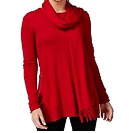 ALFANI Womens Red Long Sleeve Cowl Neck Handkerchief Sweater  Size:
