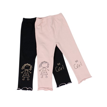 Ultra Soft Kid's Cotton Capri Cute Girl 2 Pack Pink/Black 2T