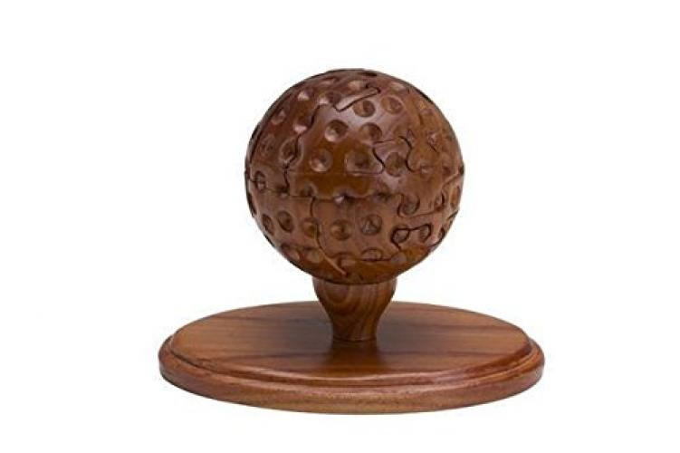 5.5 Inch Wooden 3D Golf Ball Brain Teaser Puzzle, Medium Brown by CHH by
