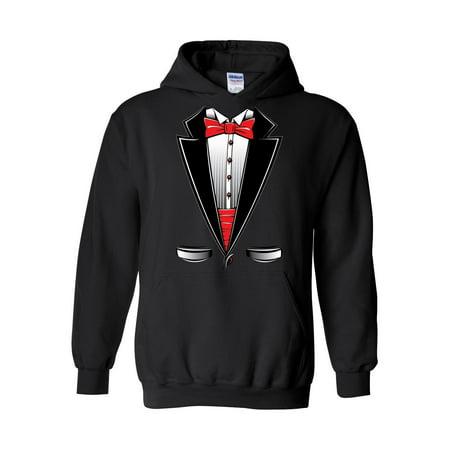 Tux Sweatshirt - Funny Costume Tuxedo Bow Tie Unisex Hoodie Hooded Sweatshirt