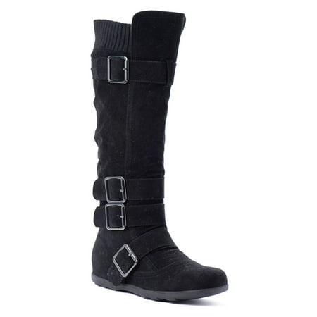 Women's Knee High Mid Calf Boots Ruched Suede Slouch Knitted Calf Buckles (Elma-02, Black