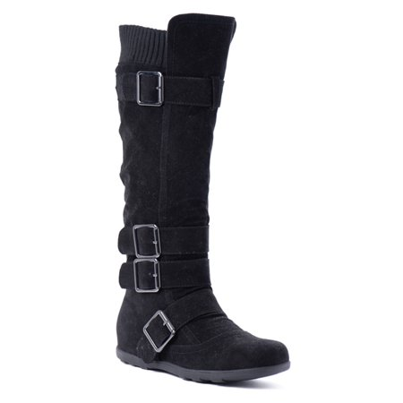 Best Knee High Boots - Women's Knee High Mid Calf Boots Ruched Suede Slouch Knitted Calf Buckles (Elma-02, Black 8.5)