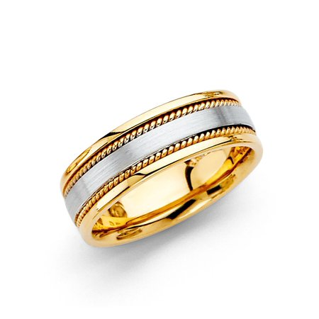 Solid 14k Yellow & White Gold Wedding Band Rope Edge Ring Comfort Fit Two Tone Mens Womens 6 mm