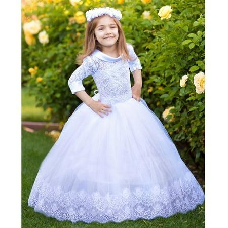 Emma Magnetic Wooden Dress (Girls White Satin Collar Beaded Tulle Emma Flower Girl Ball Dress )