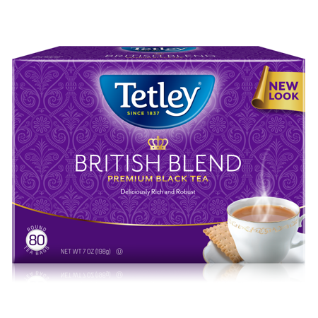Tetley British Blend Premium Black Tea Bags Box 80 Ct.