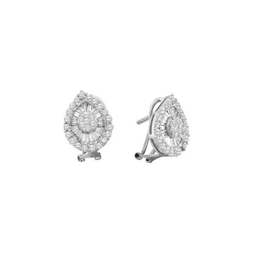 Gold and Diamonds EWW1039-W 1. 27CT-DIA FLOWER EARRING- Size 7