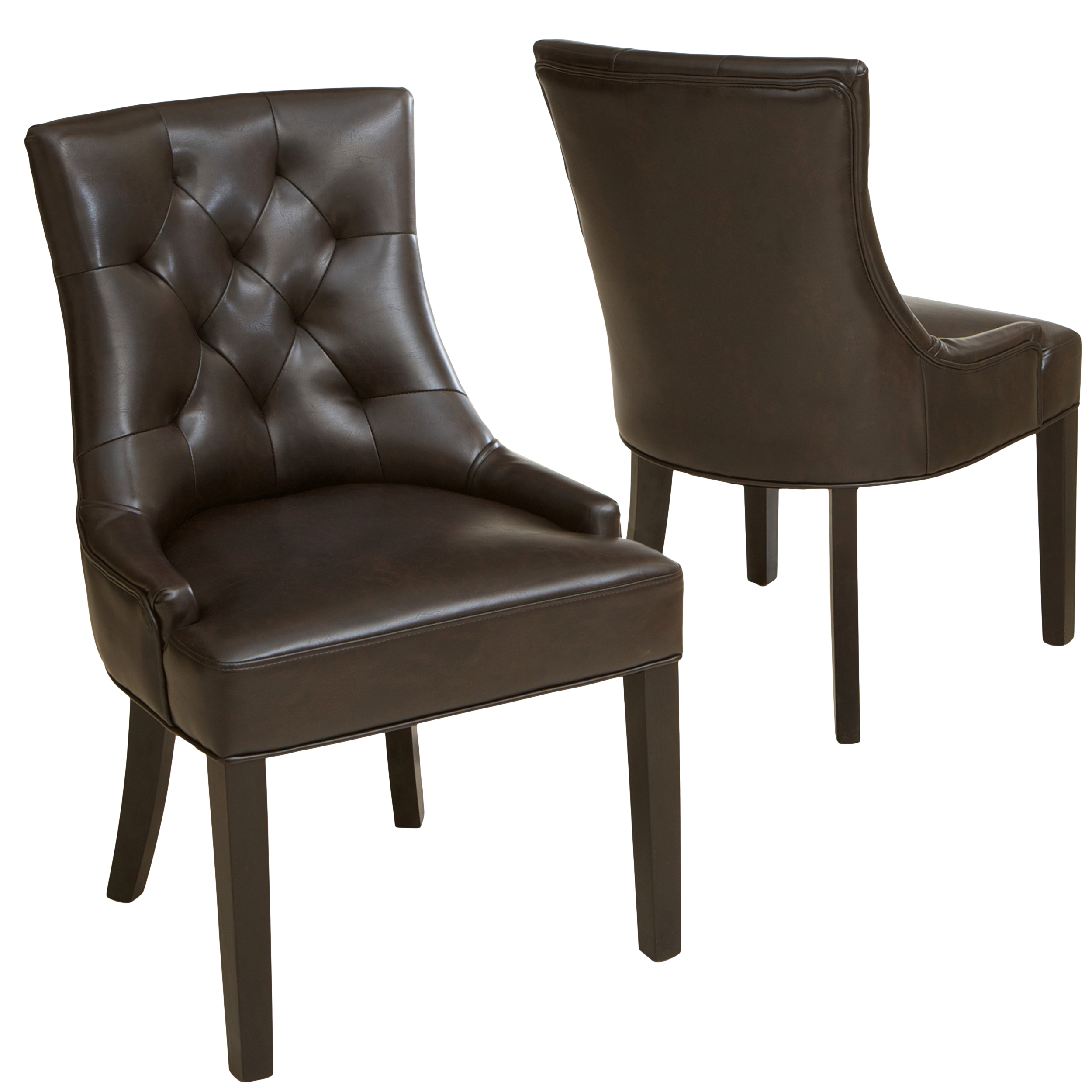 Denise Austin Home Erica Tufted Brown Bonded Leather Dining Chair (Set of 2)